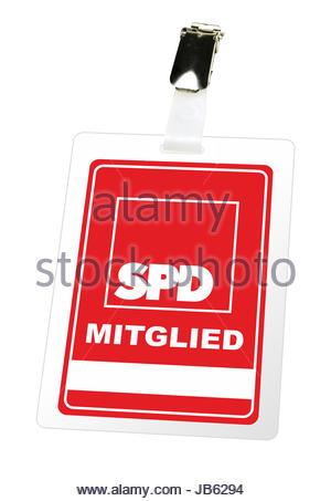 Illustrierte Darstellung eines Mitgliedsausweises der SPD mit einem Clip und einem Freifeld fuer Namen. - KEIN ORIGINAL - Stock Photo