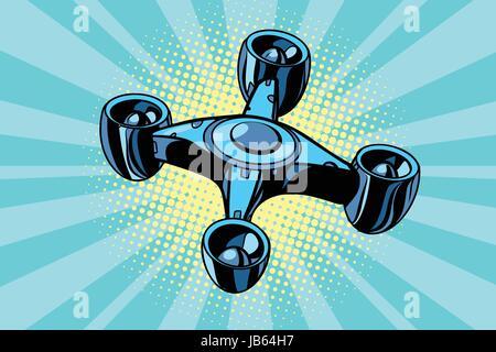 futuristic quadcopter drone. Pop art retro vector illustration - Stock Photo