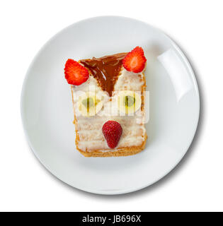 Children's sandwich on the plate, isolated white background - Stock Photo