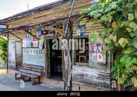 Livingston, Guatemala - August 31, 2016: Wooden storefront in Caribbean town of Livingston - Stock Photo