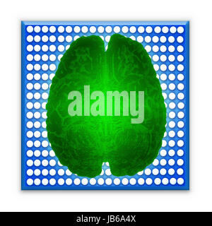 Artificial intelligence (AI) and High Tech Concept. Green glowing brain over blue microchip isolated on white background. - Stock Photo
