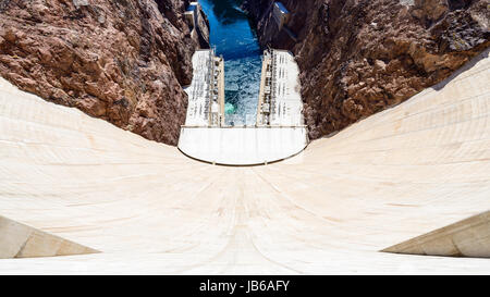 Hoover Dam in Nevada, USA seen from the top. - Stock Photo