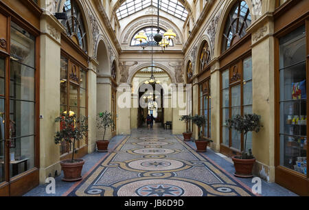 PARIS, FRANCE - June 08, 2017: Galerie Vivienne is an ancient historical passage with shops and restaurants and - Stock Photo