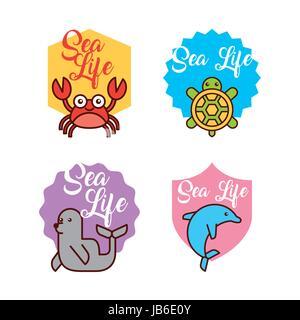 sea life icons set flat draw - Stock Photo