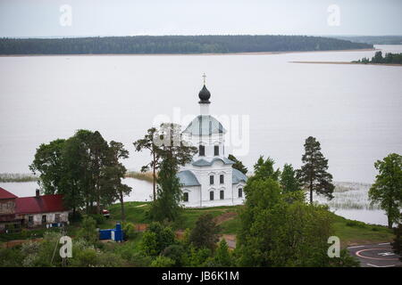 Tver Region, Russia. 8th June, 2017. A view of the Cathedral of the Exaltation of the Holy Cross at the Nilov Monastery - Stock Photo