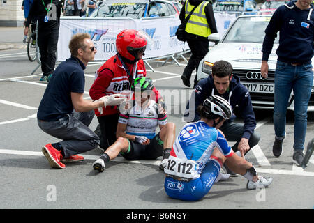 Cyclists after crash Stock Photo, Royalty Free Image ...