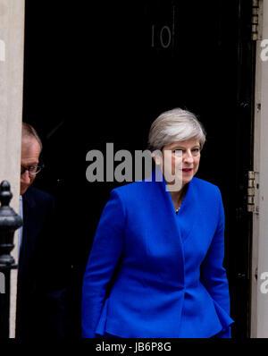 London, UK. 9th Jun, 2017. Theresa May post-election statement, No. 10 Downing Street, London, UK. 09th June, 2017. Credit: Sebastian Remme/Alamy Live News Stock Photo