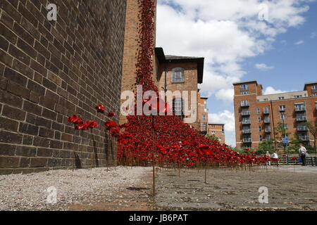 London, UK. 9th Jun, 2017. First full public display of the Weeping Window poppy display at Derby Silk Mill Tower. - Stock Photo