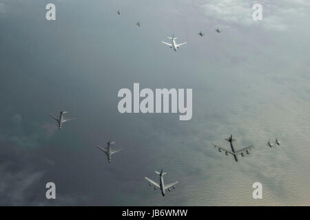 Baltic Sea. 09th June, 2017. A U.S. Air Force KC-135R Stratotanker, 756th Air Refueling Squadron, leads a formation - Stock Photo