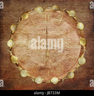 Slow Time. Retro Watch with Snails on Wood. Art Concept - Stock Photo