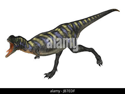 3D digital render of a running dinosaur Aucasaurus isolated on white background - Stock Photo