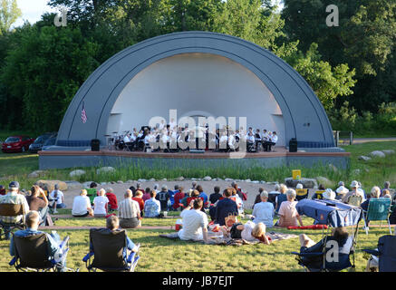 ANN ARBOR, MI - JULY 24: Ann Arbor Civic Band performs at the West Park Band Shell in Ann Arbor July 24, 2013. The - Stock Photo