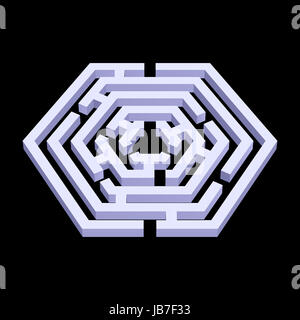 White 3d labyrinth in hexagon shape on black background - Stock Photo