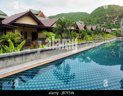 Swimming pool at the luxury hotel, Phangan, Thailand - Stock Photo