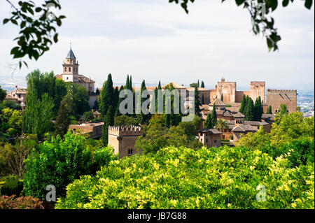 Alhambra palace and view of Granada city, Spain - Stock Photo