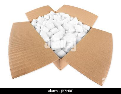 Offenes Paket mit styroporflocken