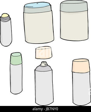 Set of deodorant containers on isolated white background - Stock Photo