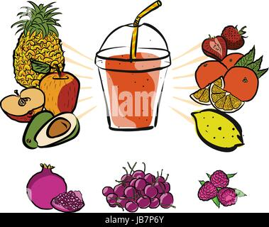 Fresh Summer Fruits and Smoothie to Go, Colored Artwork separated on White, Fresh Food Collection, Handdrawn Clean - Stock Photo