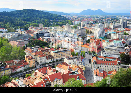 View from above on Ljubljana old town at sunset, Slovenia - Stock Photo