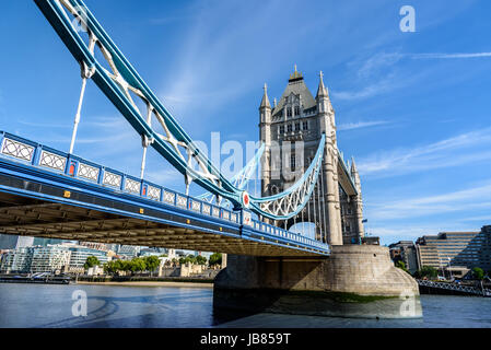 view of famous Tower Bridge over the River Thames, London, UK, England - Stock Photo