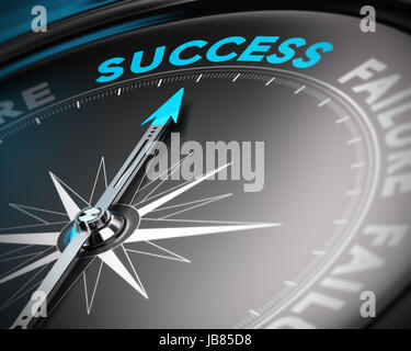 Abstract compass with needle pointing the word success with blur effect. Conceptual image suitable for a motivational - Stock Photo