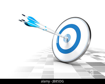Three arrows in the center of a blue target, modern checker background. Image suitable for illustration ofstrategic - Stock Photo