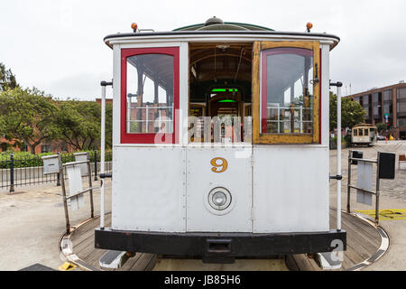 A cable car at a turnaround in San Francisco - Stock Photo