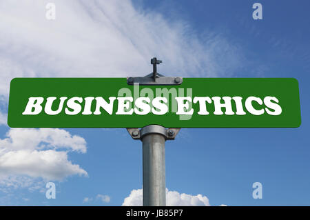 Business ethics road sign - Stock Photo