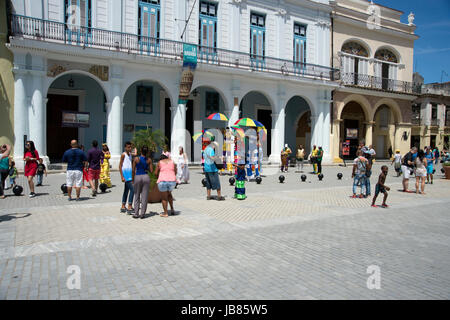 A Cuban band of musicians and street entertainers in Havana Vieja Cuba - Stock Photo