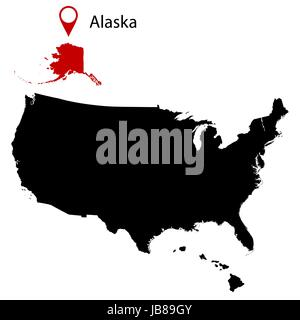 Illustration Of The State Of Alaska Silhouette Map And Flag Its A - Map of us and alaska