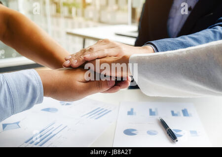 Teamwork Join Hands Support Together Concept. Business Team Coworker Brainstorming Meeting Concept - Stock Photo