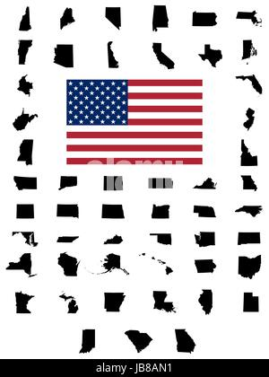 United States of America maps and Alaska state territory vector