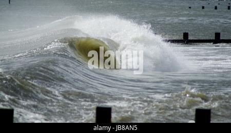 North Sea Waves Striking the Beach at Aberdeen, Scotland, April 2017. - Stock Photo