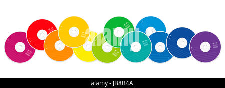 CDs - colored compact disc collection loosely arranged - illustration on white background. - Stock Photo