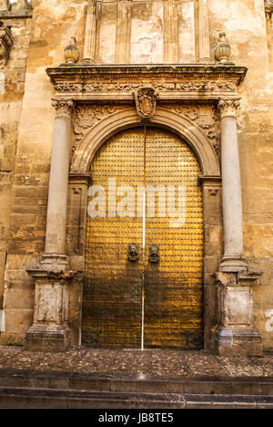 Detail of the decoration of one of the many doors that can be found in the mosque of Cordoba - Spain - Stock Photo