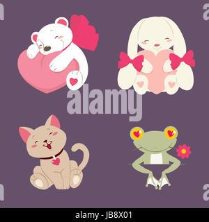 Vector illustration of cute animal set - Stock Photo