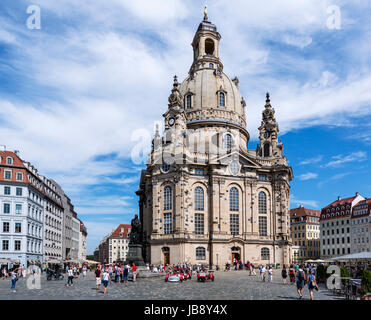 The Frauenkirche viewed from Neumarkt, Dresden, Saxony, Germany - Stock Photo