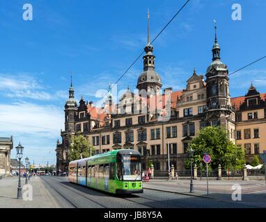 Tram in front of Dresden Castle (Dresdner Residenzschloss), Dresden, Saxony, Germany - Stock Photo
