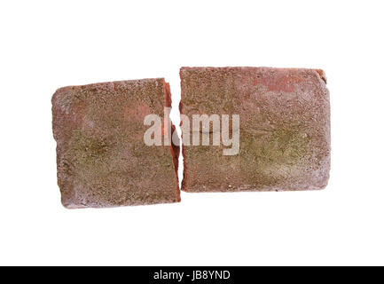 Rough broken brick, isolated on white background - Stock Photo