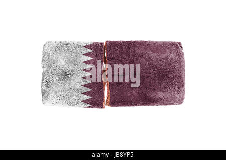 Rough broken brick, isolated on white background, flag of Qatar - Stock Photo