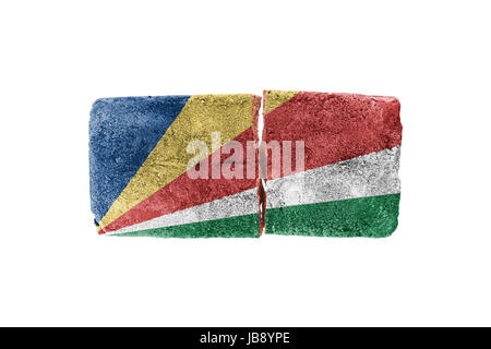 Rough broken brick, isolated on white background, flag of Seychelles - Stock Photo