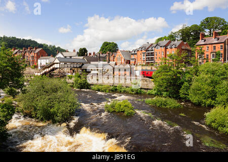 Llangollen in  with the heritage steam railway station and River Dee - Stock Photo