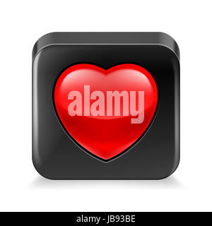 Favorite icon: black framed red heart on white background - Stock Photo