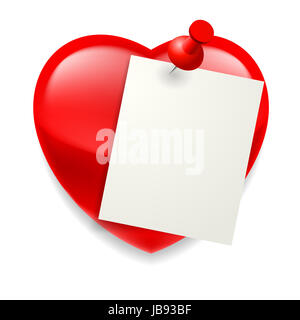 Blank paper sheet pinned on red shiny heart - Stock Photo