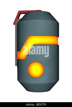 3D digital render of a sci-fi thermal detonator isolated on white background - Stock Photo