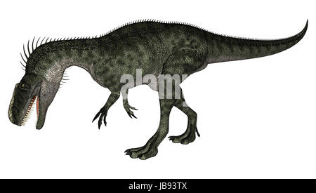 3D digital render of a walking dinosaur Monolophosaurus isolated on white background - Stock Photo