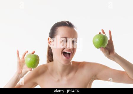 Junge Frau mit Äpfel - Stock Photo