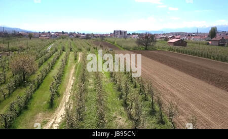 Plowed field in spring time aerial wiev ,image of a - Stock Photo