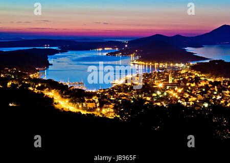Colorful sunset at Losinj bay, Croatia - Stock Photo