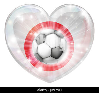 Japan soccer football ball flag love heart concept with the Japanese flag in a heart shape and a soccer ball flying - Stock Photo